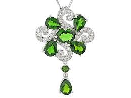 green chrome diopside sterling silver pendant with chain 5 97ctw doh258 jtv com