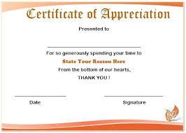 Printable Appreciation Certificates Volunteer Casual Certificate Papers Sample Wording Appreciation
