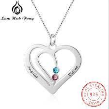 2019 personalized necklaces 925 sterling silver heart shape pendants engrave name necklaces birthstone diy women s giftlam hub fong from fujinplea