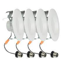 project source 4 pack 65 watt equivalent white dimmable led recessed retrofit downlights lighting guide