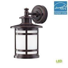oil rubbed bronze motion sensor outdoor integrated led medium wall mount lantern