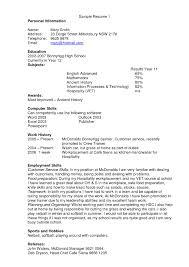 Impressive Mcdonalds Resume Template With Kitchen Hand Resume