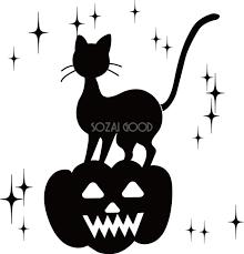 おしゃれな白黒ハロウィンシルエット黒猫モノクロ白黒無料イラスト