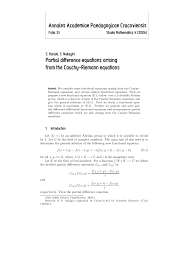 pdf partial difference equations arising from the cauchy riemann equations