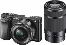 mirrorless camera. sony - alpha a6000 mirrorless camera with 16-50mm and 55-210mm lenses o