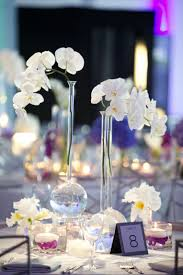 Modern Centerpiece with Beaker Vases & White Phalaenopsis Orchids |  Photography: Bob & Dawn Davis