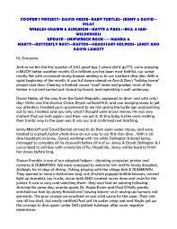 COOPER'S PROJECT- DAVID HEIDE- BABY TURTLES- JENNY & DAVID - PILOT  WHALES-SHAWN & ASHLEIGH--KAYTE & PAUL--BILL &