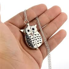 portable silver owl quartz pocket watch uni vintage pendant necklace fob watches women men classic clock with chain creative mechanical pocket watch