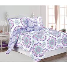 Vivian 4-Piece Purple Full Cotton Printed Quilt Set ... & null Vivian 4-Piece Purple Full Cotton Printed Quilt Set Adamdwight.com