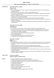 Group Leader Resume Example Security Leader Resume Samples Velvet Jobs 4