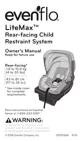 evenflo litemax car seat instruction