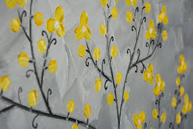 yellow blossoms by qiqigallery 16 x 20 painting original artwork abstract art gray yellow flower tree wall
