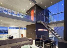 modern house inside. Wonderful House Interior Of Modern House With Big Open Views Trough Glass Wall With Inside N