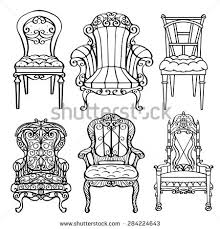 furniture clipart black and white. furniture hand drawn set, vintage chair, armchair, throne front view closeup, black clipart and white