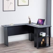 home office black desk. HOMCOM L-Shaped Computer Desk 2 Shelves Space Saving Home Office Black Home Office Black Desk