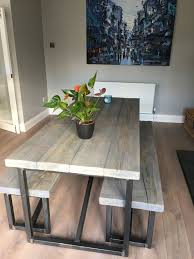 Industrial Style Reclaimed Wood Grey Washed Dining Table And Benches