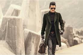 british style mens army green wool trench coat men long trench slim fit overcoat casual single