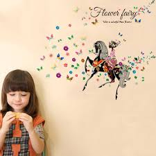 colorful flower fairy girl black horse wall sticker for kids rooms butterfly flowers art decal home decor diy mural poster in wall stickers from home  on horse wall art decal with colorful flower fairy girl black horse wall sticker for kids rooms