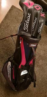titleist tour staff bag with leather headcovers