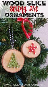 Wood Slice String Art Ornaments | Diy wood, String art and ...