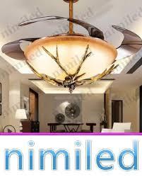 "nimi918 42"" Invisible Ceiling Fan Lights Light <b>LED</b> Resin <b>Antlers</b> ..."