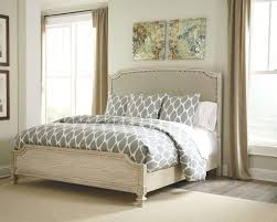 white tufted bed frame queen new ashley demarlos upholstered in parchment you can tufted bed frame t31