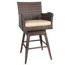 Best choice products outdoor patio all weather brown pe wicker swivel bar stool w