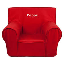 poppy red kids foam chair with personalization included