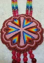 American Indian Necklace Designs Nice Hand Crafted Cut Beaded Star Design Rosette Native