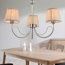 3 light silver iron modern chandelier with fabric shades hkp31263 3