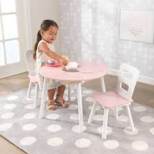 kids table chairs sets kidkraft kids round and chair set storage pink rsm pink