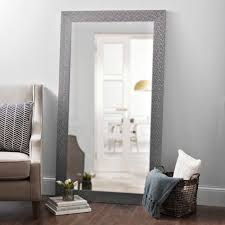 Long length mirror Vintage Style Metallic Silver Blocks Framed Mirror 38x68 In Kirklands Floor Mirrors Full Length Mirror Kirklands