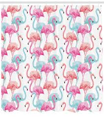 watercolor shower curtain flamingos in many colors hand drawn bird exotic animals ilration fabric bathroom set with hooks baby blue salmon pink