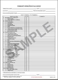 truck driver evaluation form 5595 forklift operator evaluation form