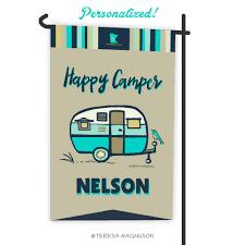 camping garden flag. Beautiful Camping Custom Camping Flag  Happy Camper Aqua Garden Flag Personalized With