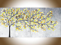 abstract painting yellow grey painting large wall art modern for yellow and grey wall art