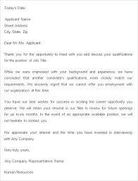 Resume Rejection Letter Sample Application Rejection Letter Decline Template Job