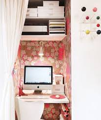 tiny home office. Wonderful Tiny Tiny Home Office Ina A Small Closet With Floral Wallpaper Image For