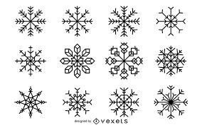 Christmas Snowflakes Pictures Christmas Snowflakes Illustration Set Vector Download