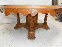 large antique oak 6ft round dining table 19th century arts crafts exhibition oak dining table