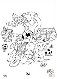 Small Picture Animals play soccer football coloring page Free Printable