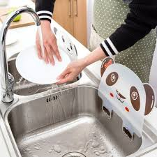 1pc Cute Panda Sucker Kitchen Sink Flap Splash Guard Baffle Wash