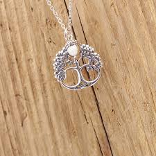 gorgeous handcrafted sterling silver leafy tree of life and acorn pendant necklace