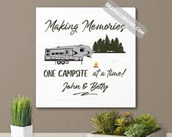 Most popular rv camper van decorating ideas Remodel Personalize Name Making Memories Fifth Wheel Camping Canvas Wall Art Faux Wood One Campsite At Time Fiver Camping Rv Camper Decor Rv Inspiration Rv Wall Art Decor Etsy