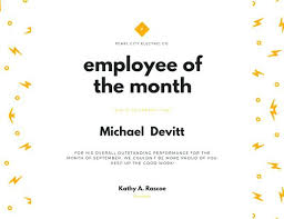 Printable Employee Of The Month Certificates Printable Award Template Best Employee Staff Certificate