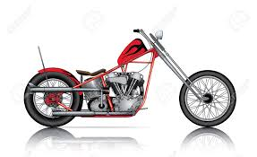 red custom chopper on white background royalty free cliparts