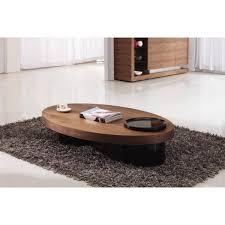 giomani rocco oval coffee table in walnut and black
