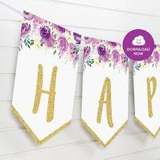 Purple Happy Birthday Banner Purple And Gold Floral Happy Birthday Banner Printable Bunting