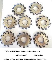 Gear Cutters Involute Modular 2 25 20p A Full Set Of 8 Cutters Hss 22mm Bore