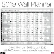 2019 Calendar Planner Yearly Annual Wall Chart B3 Size Free